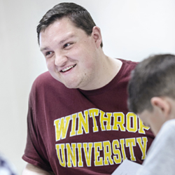 student in winthrop tshirt