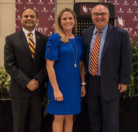 From left: CBA Dean P.N. Saksena, economist Laura Ullrich, and Mark Vitner
